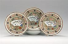 SET OF SIX CHINESE EXPORT PORCELAIN PLATES Central fan decoration surrounded by a coin border. Diameters 9.25