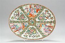 CHINESE EXPORT ROSE MEDALLION PORCELAIN WELL & TREE PLATTER In oval form with figural, bird and floral designs. Length 19
