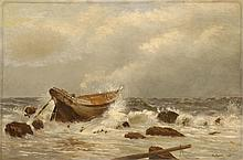 HENRY MOORE, English, 1831-1895, A wreck on the beach., Oil on canvas, 16