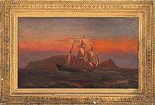 SAMUEL GREEN WHEELER BENJAMIN, American, 1837-1914, A three-masted sailing vessel along the coast under a luminous sky., Oil on canv...