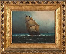 WESLEY ELBRIDGE WEBBER, American, 1841-1914, Bow view of a sailing ship., Oil on canvas, 9