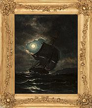 STYLE OF JAMES G. TYLER, American, Late 19th Century, A ship under moonlight., Oil on canvas, 20