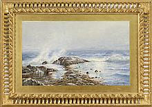EDMUND DARCH LEWIS, American, 1835-1910, Waves crashing over rocks., Watercolor and gouache on paper, 16