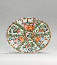 CHINESE EXPORT ROSE MEDALLION PORCELAIN OVAL PLATTER With figural decoration. Length 13.25