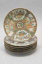 SIX CHINESE EXPORT ROSE MEDALLION PORCELAIN PLATES With figural designs on a bird and floral ground. Diameters 8.25