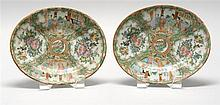 PAIR OF CHINESE EXPORT ROSE MEDALLION PORCELAIN OVAL TRAYS Figural designs on a bird and floral ground. Length 7.75