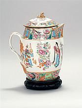 CHINESE EXPORT MANDARIN PORCELAIN CIDER PITCHER Domed cover with lion finial. Entwined handle. Height 11.5