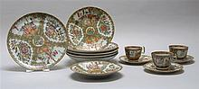 LOT OF CHINESE EXPORT ROSE MEDALLION PORCELAIN With figural designs on a bird and floral ground. Includes three cups and saucers, on...
