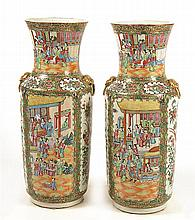 PAIR OF TALL CHINESE EXPORT ROSE MANDARIN PORCELAIN VASES Four cartouches depict alternating views of a landscape with multiple figu...