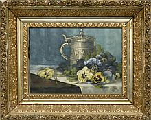 GEORGE LOFTUS NOYES, American, 1864-1954, Still life of pansies and a stein., Oil on canvas, 9