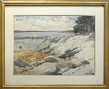 JOHN WHORF, American, 1903-1959, Coastal landscape., Watercolor on paper, 14