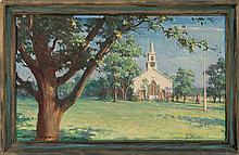 HAROLD MATTHEWS BRETT, American, 1880-1955, A Cape Cod church., Oil on canvas, 18