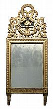 ANTIQUE GILT CONTINENTAL MIRROR Rectangular wooden frame with simple geometric moldings. Attached upper crest with garland and ribbo...