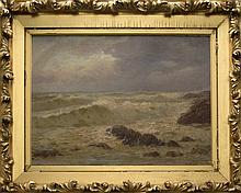 CHARLES DREW CAHOON, American, 1861-1951, Waves crashing off the coast., Oil on canvas, 20