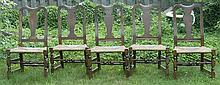 SET OF FIVE QUEEN ANNE-STYLE BENCH-MADE CHAIRS Five side chairs attributed to Wallace Nutting.