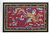 SILK AND METALLIC THREADWORK PANEL Depicting a phoenix against a red ground. 42