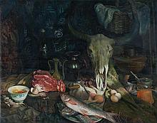 LI WU Oil on canvas. Depicting a still life with fish, eggs, and cow's skull. Signed and dated lower right. 31
