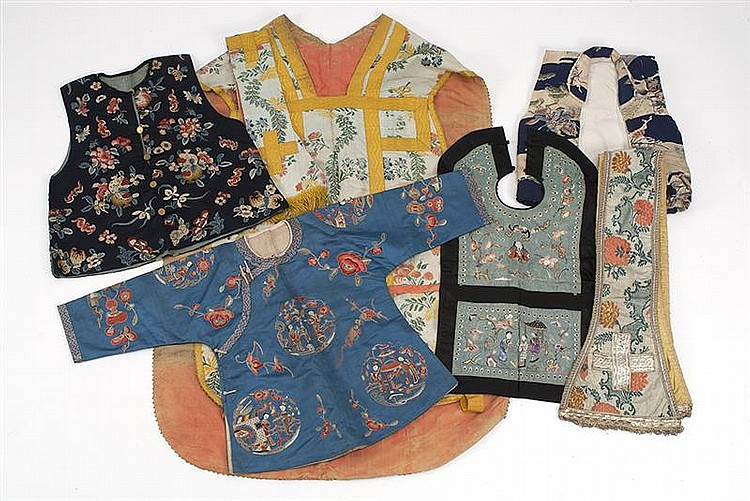 COLLECTION OF TEXTILE ITEMS includes: Chinese child's jacket, Chinese silk vest, Japanese child's jacket, Chinese bib, two liturgica.