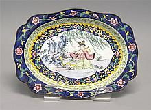PAINTED ENAMEL TRAY In modified rectangular form with depiction of a flutist beneath a willow tree. Length 10.75