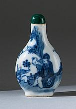 BLUE AND WHITE PORCELAIN SNUFF BOTTLE In pear shape with figural and landscape decoration. Height 2.7
