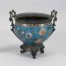 ORMOLU BRONZE-MOUNTED CLOISONNÉ ENAMEL BOWL In ovoid form with prunus design. Height overall 14.25