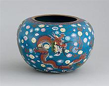 CLOISONNÉ ENAMEL BOWL In ovoid form with five-claw dragon design on a blue cloud ground. Diameter 10.3