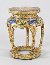 CLOISONNÉ ENAMEL GARDEN SEAT With mask and floral design on a yellow ground. Height 19.5
