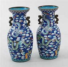 PAIR OF CLOISONNÉ ENAMEL VASES With multicolor five-claw dragon design on a blue ground. Heights 17.8