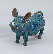 CLOISONNÉ ENAMEL FIGURE In the form of a pig with archaic-style decoration on a blue ground. Length 18