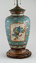 CHAMPLEVÉ ENAMEL VASE With phoenix, dragon, and floral decoration on a blue ground. Mounted as a table lamp. Height 13.8
