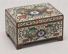 SCULPTED CLOISONNÉ ENAMEL BOX In rectangular form with passionflower design. Length 4.5