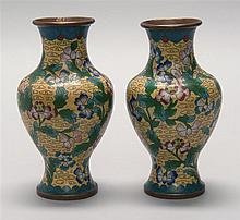 PAIR OF CLOISONNÉ ENAMEL VASES In baluster form with floral design on a yellow ground. Heights 6.5