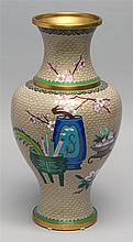 CLOISONNÉ ENAMEL VASE In baluster form with decoration of scholar's items on a beige ground. Height 15.5