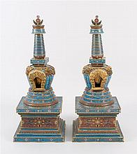 PAIR OF CLOISONNÉ ENAMEL STUPAS With stepped square bases, ovoid bodies, and stepped circular finials. Bodies decorated with passion...