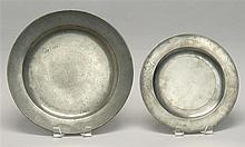 SMALL PEWTER CHARGER BY SAMUEL ELLIS Together with an English pewter plate with untraceable mark, diameter 9.5