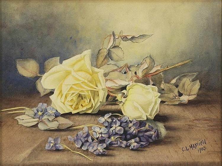 CLARA MAXFIELD ARNOLD, American, 1879-1959, Still life with yellow roses and blue hydrangea., Watercolor on paper, 10