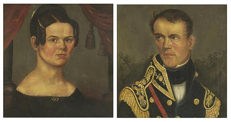 ASAHEL LYNDE POWERS, American, 1813-1843, Pair of wedding portraits of Colonel Butterfield and his wife, Oil on canvas, 20