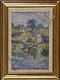 LILY BLANCHE PETERSON RHOME, American, 1874-, Double-sided landscape: Obverse depicts houses on a cove., Oil on board, 12