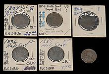 SIX U.S. HALF CENTS 1804 (3), 1806, 1832 and 1855. Conditions vary.