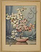 FRAMED WATERCOLOR: MAE BENNETT BROWN (American, 1887-1973). Still life with pink and white dogwood blossoms in a pink porcelain bowl..., Mae Bennett Brown, Click for value