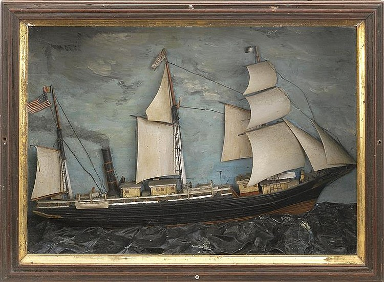 SHADOW BOX MODEL OF THE THREE-MASTED STEAM BARK ORIENT On a wavy sea. Appears to be original paint. Height 15