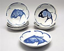 SET OF SIX BLUE AND WHITE PORCELAIN SHALLOW BOWLS With fish decoration. Diameters 8