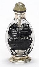 OVERLAY GLASS SNUFF BOTTLE In elongated ovoid form with decoration of bronze vessels in black on a clear ground. Silver cigarette li...