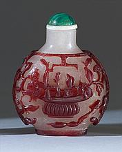 OVERLAY GLASS SNUFF BOTTLE In ovoid form with red fruit basket design on an opalescent ground. Height 2.3