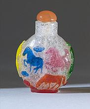 SIX-COLOR OVERLAY GLASS SNUFF BOTTLE In ovoid form depicting the horses of Mu Wang. Height 2