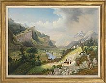 FRAMED PAINTING Expansive landscape, possibly Switzerland. Signed illegibly lower right. Oil on canvas, 30