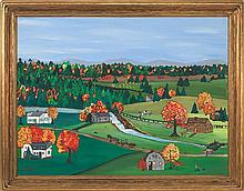 AMERICAN SCHOOL, Mid-20th Century, Autumnal landscape., Oil on canvas, 30