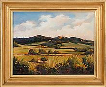 BETTINA M. LESIEUR, American, 20th Century, Fields of France., Oil on masonite, 14