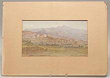 UNFRAMED PAINTING The Alahambra. Unsigned. Watercolor on paper, laid down on board. 7.75
