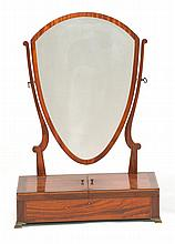 ENGLISH MAHOGANY DRESSER MIRROR With shield-form back and brass feet. Lift-top base. Height 32